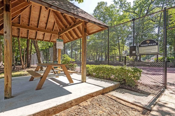 Picnic Pavilion with Charcoal Grill at Woodland Park best apartments in Greensboro North Carolina