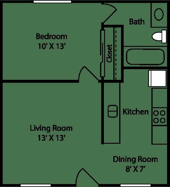 1 Bed - 1 Bath |528 sq ft floorplan