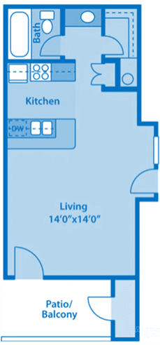 Canyon Creek 1A Studio Floor Plan image depicting layout. Storage and storage in the bottom, living area in the middle, kitchen & bathroom on top.