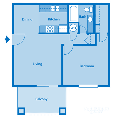 Catalina Canyon 1A Floor Plan Image depicting layout. Balcony, living room and kitchen on the left. Bedroom and bathroom on the right.