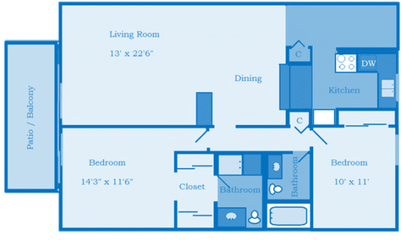 Cottonwood Creek 2 Bedroom Floor Plan image depicting layout. Patio/balcony bedroom and living room on the left.Bathrooms, 2nd bedroom and kitchen on the right.