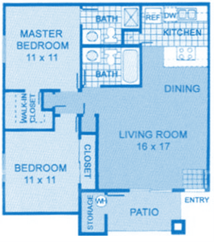 Cantera 2A Floor Plan image depicting layout. Master, bedroom, bathrooms on the left, living room and kitchen on the right.