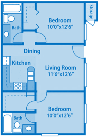 Canyon Creek 2A Floor Plan image depicting layout. Bathroom, kitchen and 2nd bath on the left. Both bedrooms and living room on the right.