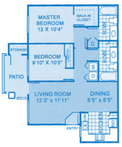 Cantera 2b Floor Plan image depicting layout. Master, bedroom, patio and living room on the left and bathrooms, dining area and kitchen on the right.