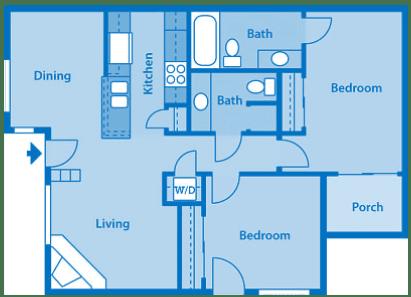 Villas at Montebella 1A Floor plan 2C image depicting floor play layout.