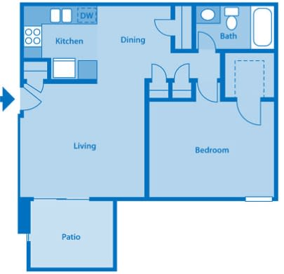 Somerpointe Apartments The Amber floor plan depicting layout of home.