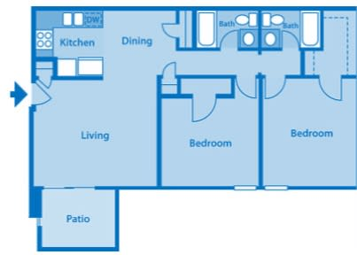 Somerpointe Apartments The Ruby floor plan depicting layout of home.