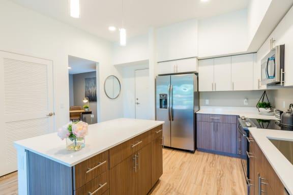 light finishes in model unit kitchen