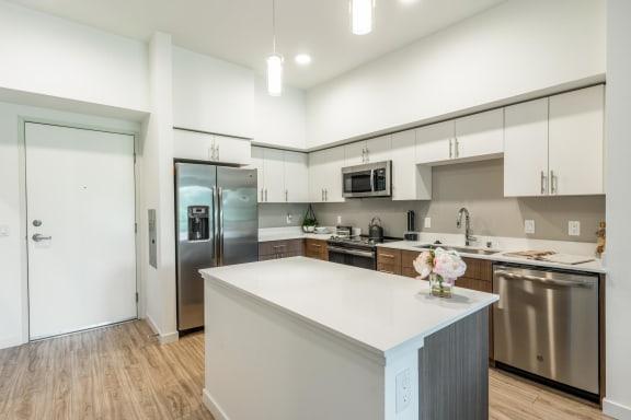 kitchen island of light finished unit