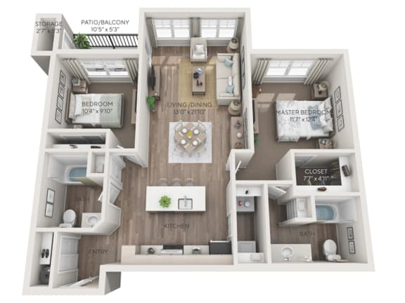 Stevens 3d dimensioned floorplan