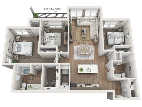 summit 3d floorplan dimensioned