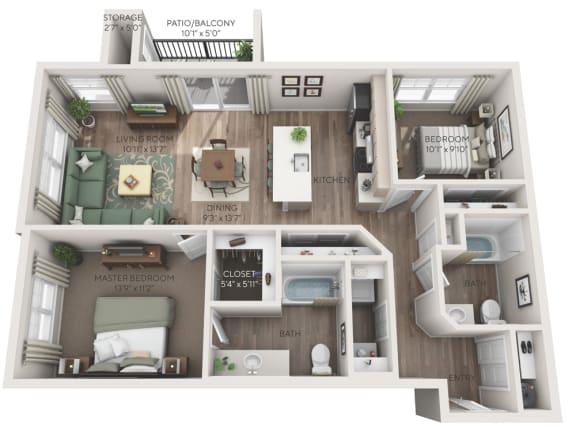 Tahoma 3D floorplan dimensioned