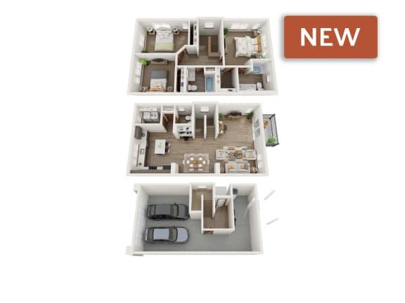 Floor Plan  3 bedroom townhomes 3d floorplan