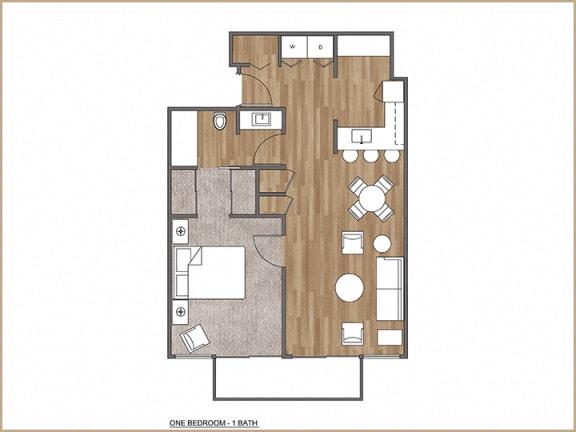 Floor Plan  One Bedroom, One Bath D
