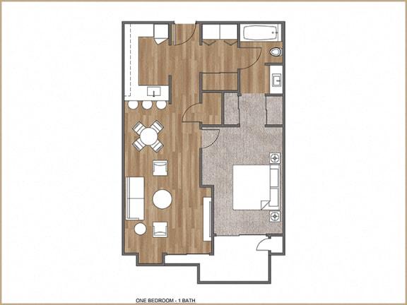 Floor Plan  One Bedroom, One Bath L