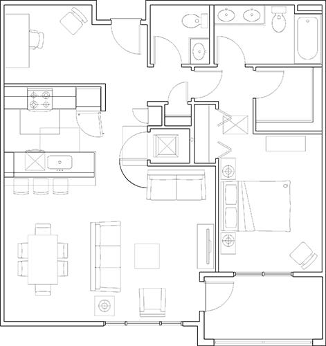 Floor Plan  1x1.5 with Den