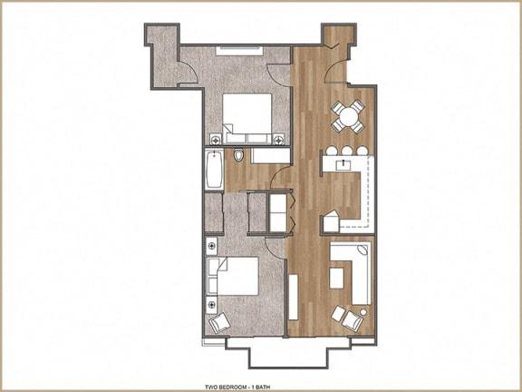 Floor Plan  2 Bedroom, 1 Bath