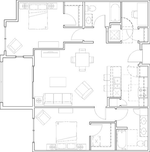 Floor Plan  2x2 with Study