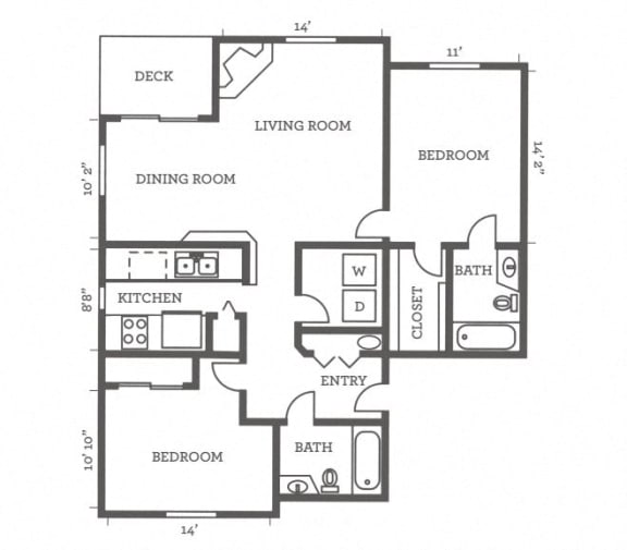 Floor Plan  Two Bedrooms