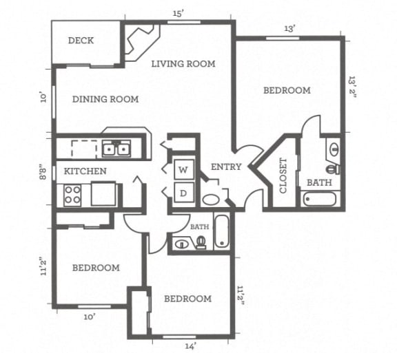Floor Plan  Three Bedrooms