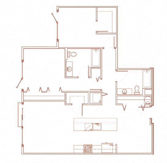 Floor Plan  E 2x2 Den