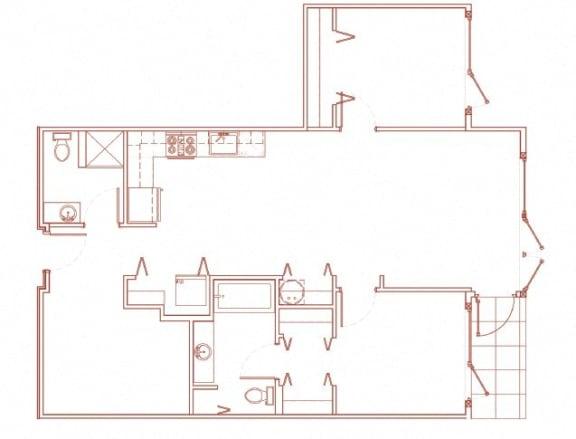Floor Plan  N 2x2 Den