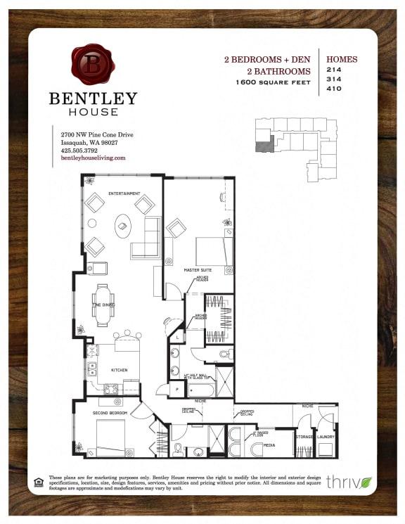 Floor Plan  2x2 with Den