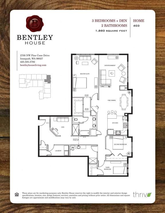 Floor Plan  3x2 with Den