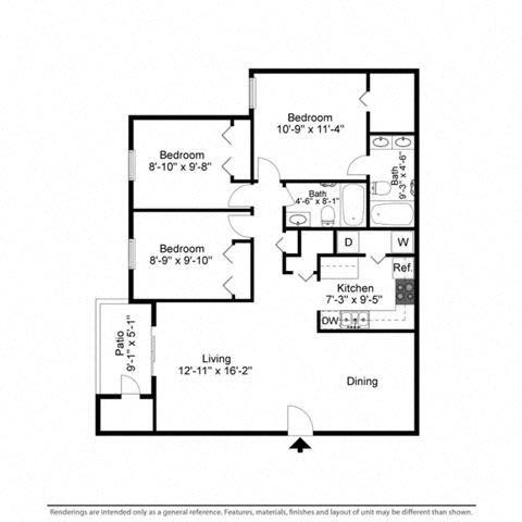 Floor Plan  Three Bedrooms