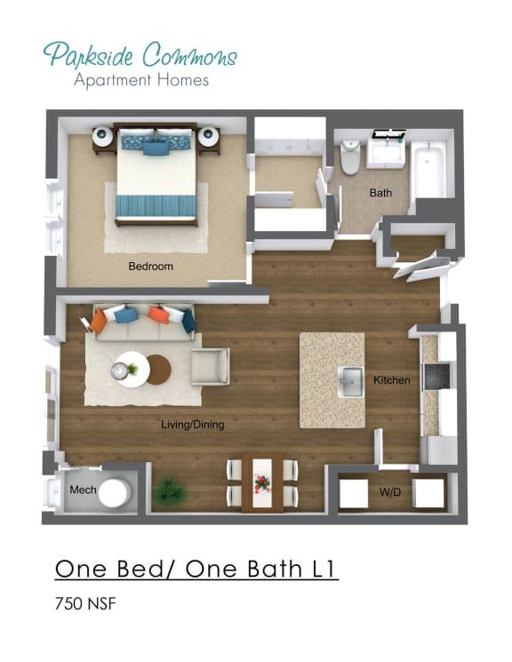 Floor Plan  750 SQ FT