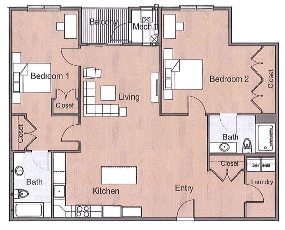 Floor Plan  2 Bedtroom Deluxe Sto Floor Plan