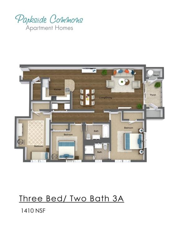 Floor Plan  1410 SQ FT 3 X 2 BA