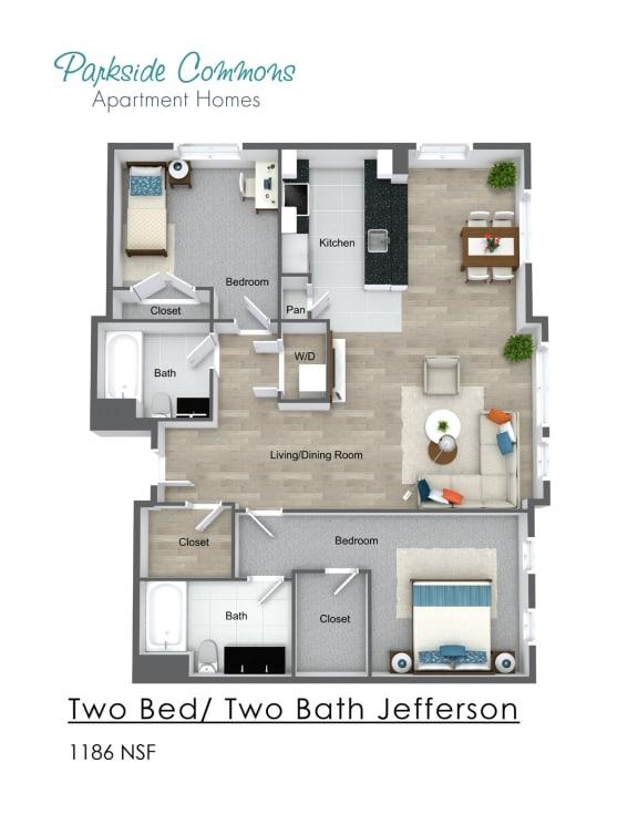 Floor Plan  Two Bedroom Two Bath Building 2