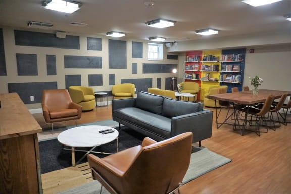 cozy hardwood floor clubroom, Wilber School Apartments, Sharon, 02067