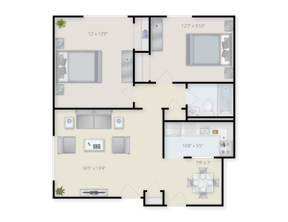 Floor Plan  Two Bedroom apartment at Mansfield Meadows in Mansfield, MA