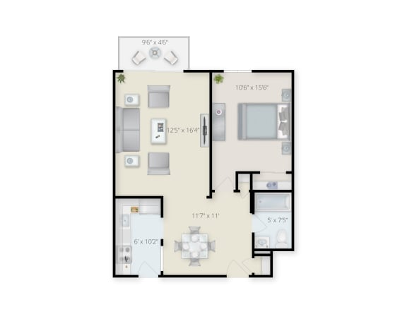 Floor Plan  One Bedroom apartment at Mansfield Meadows in Mansfield, MA