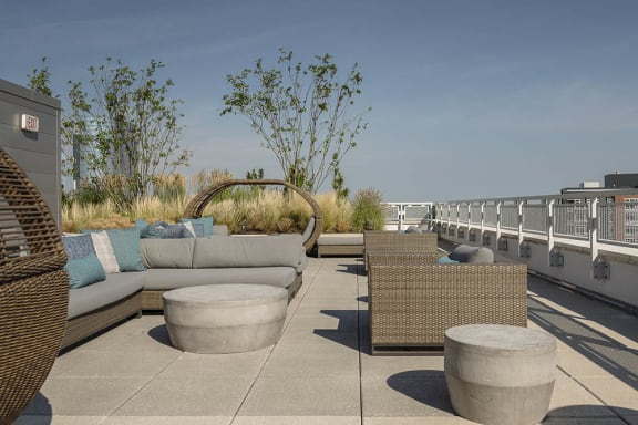 Rooftop lounge space and gardens