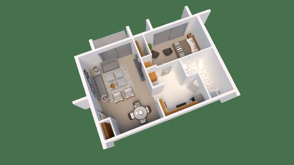 1 Bed 1 Bath Floor Plan at Arbor Pointe Townhomes, Battle Creek