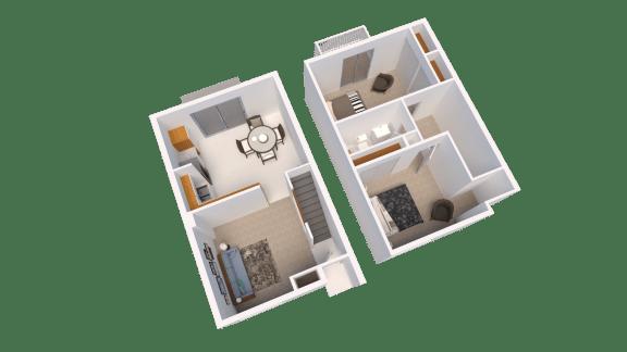 2 Bedroom 1 Bathroom Floor Plan at Arbor Pointe Townhomes, Battle Creek, 49037-2040
