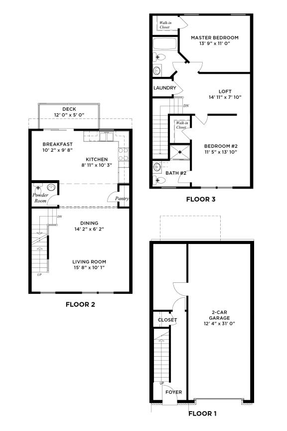 Floor Plan  The Augusta 2 Bedroom w Loft Ross Township, Pittsburgh, PA
