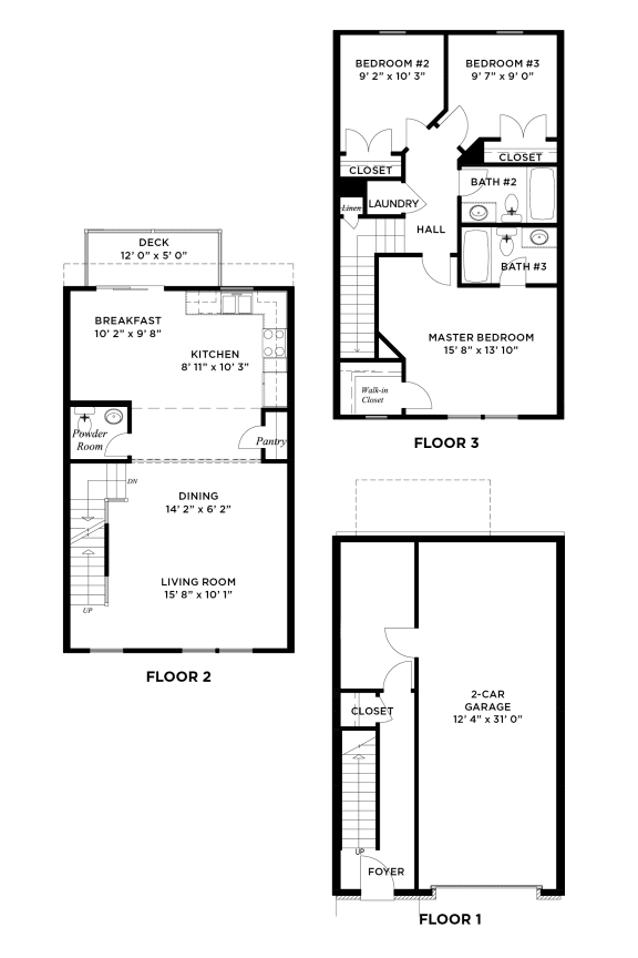 Floor Plan  The Augusta 3 Bedroom Ross Township, Pittsburgh, PA