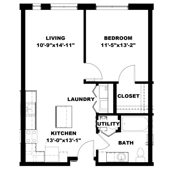 Floor Plan  Hot Metal Flats A1 floorplan, Hot Metal Flats apartments, Pittsburgh, PA