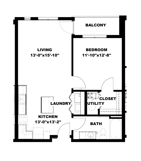 Hot Metal Flats A3 floorplan, Hot Metal Flats apartments, Pittsburgh, PA