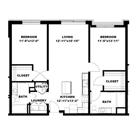 Floor Plan  Hot Metal Flats B1 Floorplan, Hot Metal Flats apartments, Pittsburgh, PA