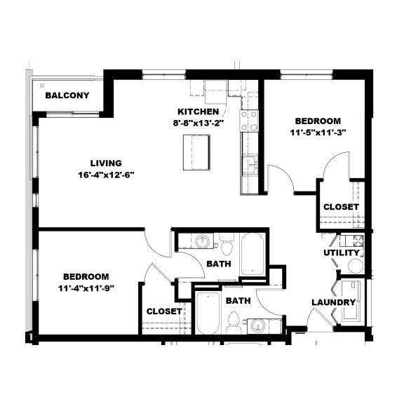 Floor Plan  Hot Metal Flats B2 floorplan, Hot Metal Flats apartments, Pittsburgh, PA