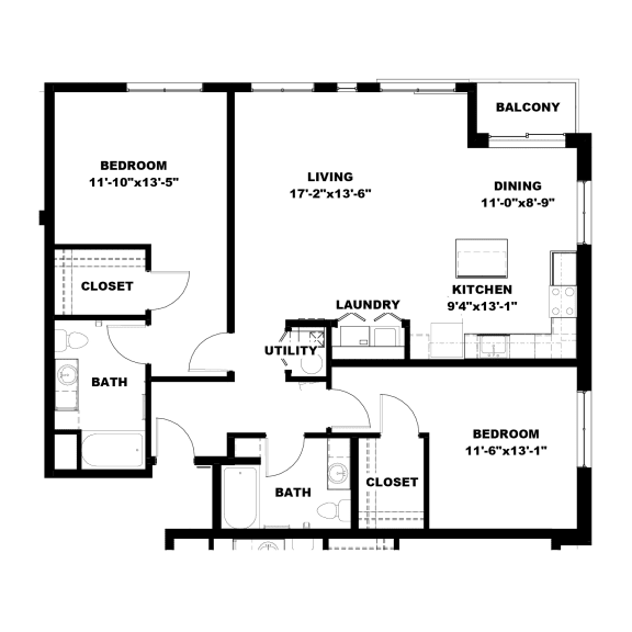 Floor Plan  Hot Metal Flats B3 Floorplan, Hot Metal Flats apartments, Pittsburgh, PA
