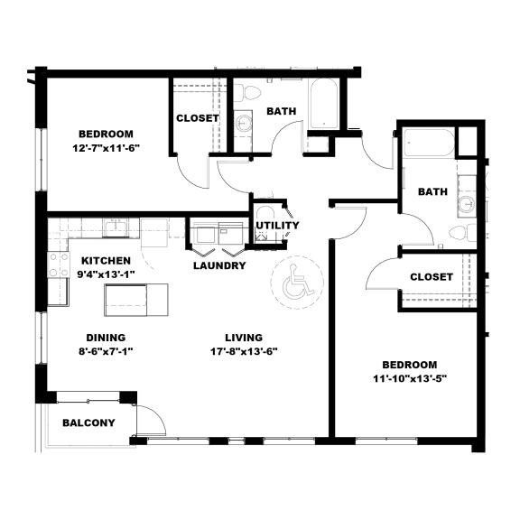 Floor Plan  Hot Metal Flats B3-A floorplan, Hot Metal Flats apartments, Pittsburgh, PA