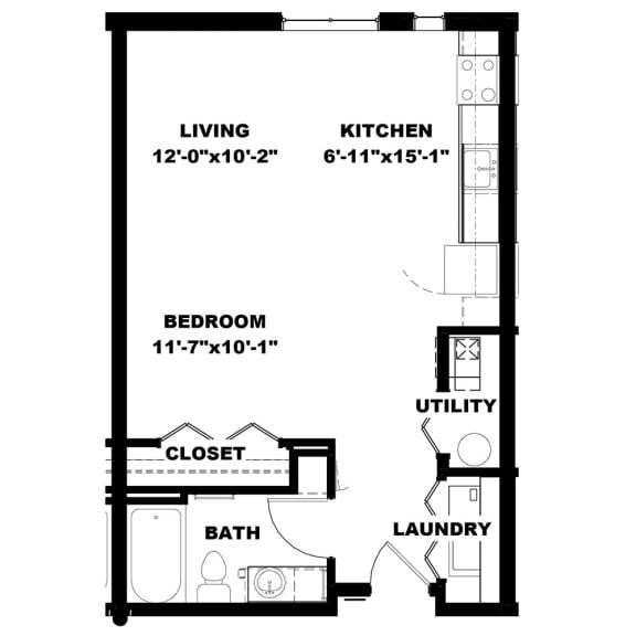 Floor Plan  Hot Metal Flats E1 floorplan, Hot Metal Flats apartments, Pittsburgh, PA