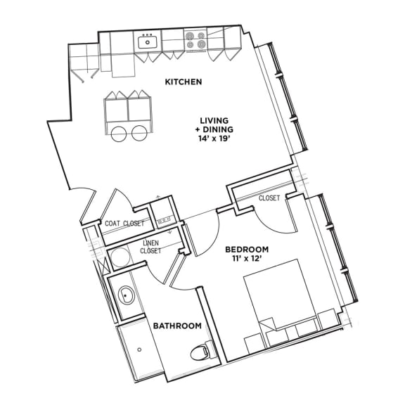 Floor Plan1 BR 1 Bath Suite B - ADA (Highland Building), Walnut on Highland in East End Pittsburgh, PA