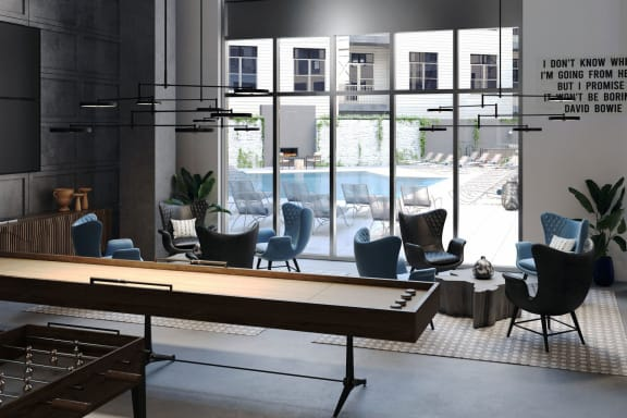 lounge with demonstration kitchen and gaming at Alta East, Atlanta, 30316